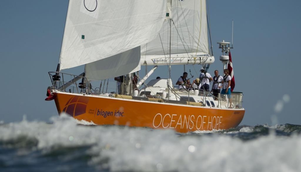 20140908  Copyright onEdition 2014© Free for editorial use image  The 20-metre yacht Oceans of Hope has arrived in Boston, USA, after sailing across the Atlantic Ocean from Lisbon, Portugal to complete the first transoceanic stage of the historic first global circumnavigation by a crew of people with multiple sclerosis (MS).  In warm sunshine and a light easterly breeze, a large crowd was on the dock to greet the crew as they arrived at the Marina at Rowes Wharf, Boston, USA, at 1.55pm local time (1855 UTC) today.  Project founder, Dr Mikkel Anthonisen was at the helm of Oceans of Hope as he and the crew arrived.  The yacht, which set sail from Copenhagen, Denmark, on 15 June 2014, bears the same name as the Sailing Sclerosis Foundation project, Oceans of Hope, which aims to change perceptions of MS during the 17-month round the world voyage.  The project aims to inspire those with MS by showing what is possible when people with a chronic disease are empowered to conquer their individual challenges. Biogen Idec is the Official Partner of Oceans of Hope.  During the ten-day stopover in Boston, Oceans of Hope will take centre stage at the joint ACTRIMS-ECTRIMS conference, the world's largest annual international conference devoted to basic and clinical research in multiple sclerosis.  Further port visits in the USA include New York 11-16 November and Fort Lauderdale, Florida, 5-9 December.  For media information and interview requests contact E: heather.ewing@seagrassuk.com Office: +44 (0) 23 9252 0858 Mobile: +44 (0) 780 330 4595 USA cell: +1 857 265 9726 oceansofhope@seagrassuk.com   This image is copyright the onEdition 2014©. This image has been supplied by onEdition and must be credited onEdition. The author is asserting his full Moral rights in relation to the publication of this image. All rights reserved. Rights for onward transmission of any image or file is not granted or implied. Changing or deleting Copyright information is illegal as specified in the Copyright, Design and Patents Act 1988. If you are in any way unsure of your right to publish this image please contact onEdition on 0845 900 2 900 or email Info@onEdition.com